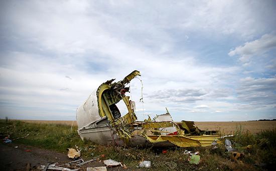 Часть обломков на месте крушенияBoeing MH17 в Донбассе