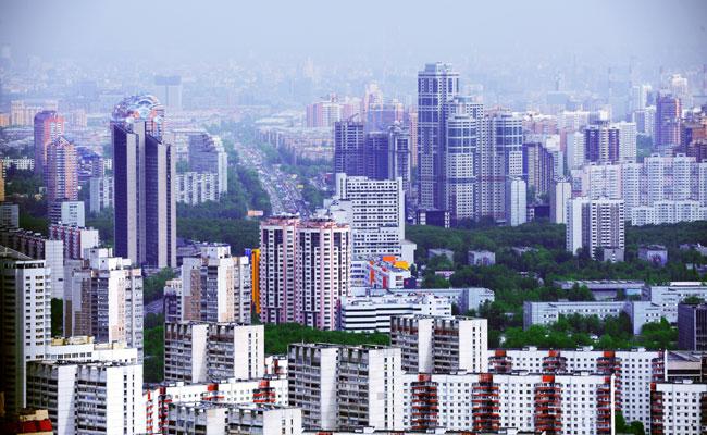 Вид на жилые кварталы Москвы