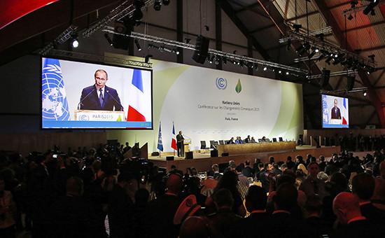 Выступление президента России Владимира Путина наклиматическом саммите в Париже
