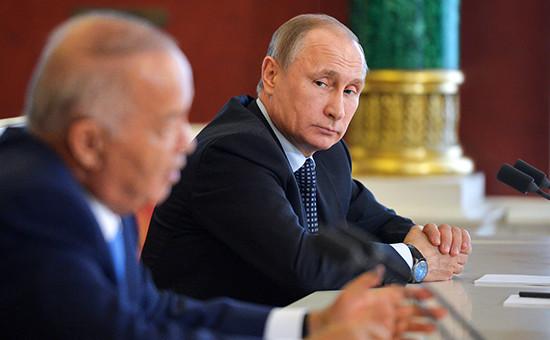 Умерший президент Узбекистана Ислам Каримов (слева) ипрезидент России Владимир Путин. Апрель 2016 года