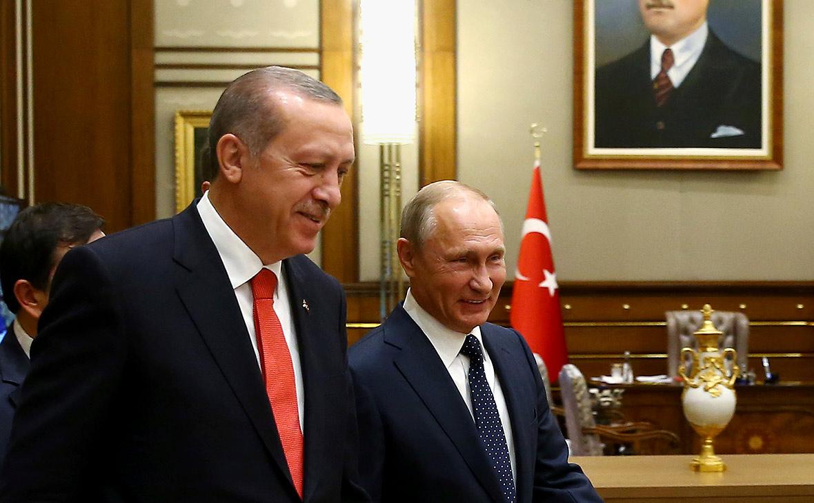 Реджеп Тайип Эрдоган и Владимир Путин во время встречи 28 сентября
