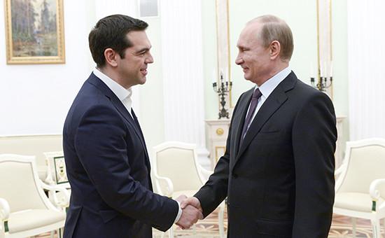 Премьер-министр Греции Алексис Ципрас и президент России Владимир Путин (слева направо) во время встречи в Кремле