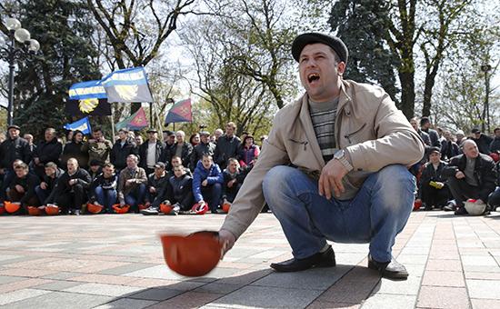 Акция протеста шахтеров вКиеве. 2015 год
