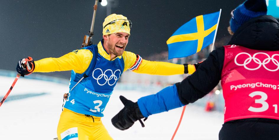 Последнюю биатлонную гонку на Олимпиаде выиграла Швеция