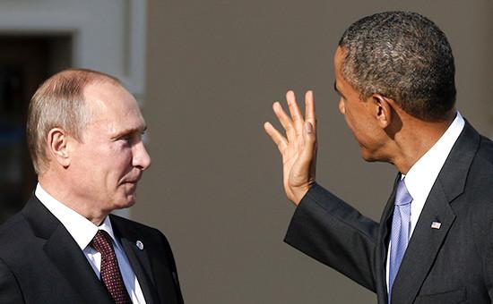 Президент России Владимир Путин (слева) ипрезидент США Барак Обама. Сентябрь 2013 года