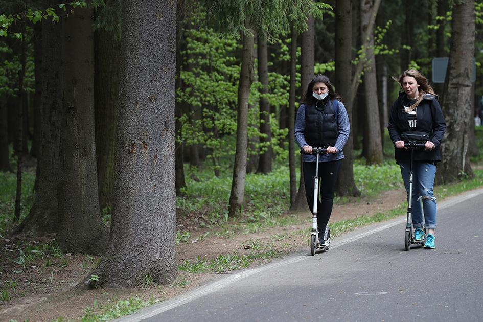 Посетители парка имени Лазутиной в Московской области во время занятий спортом. На территории парка уже можно гулять при условии соблюдения санитарной дистанции и индивидуально заниматься спортом