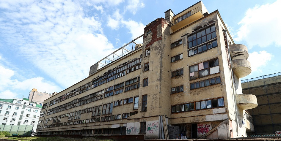 Дом Наркомфина до реставрации