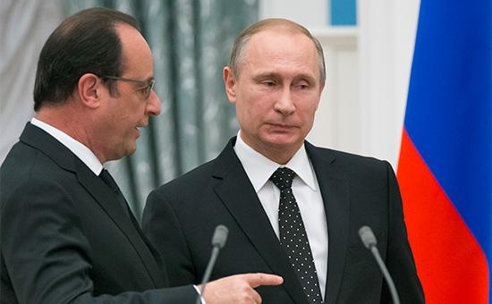 Президент Франции Франсуа Олланд ипрезидент России Владимир Путин