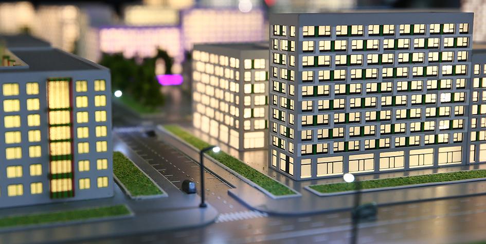 Макет жилой застройки на выставке в рамках Московского урбанистического форума — 2017 на ВДНХ
