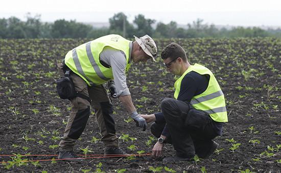 Следователи на месте крушения Boeing в Донбассе