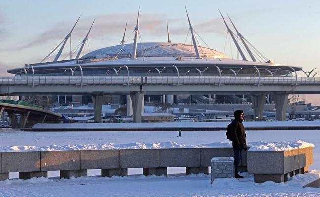 Вид настроящийся стадион «Крестовский», ранее известный как«Зенит Арена»