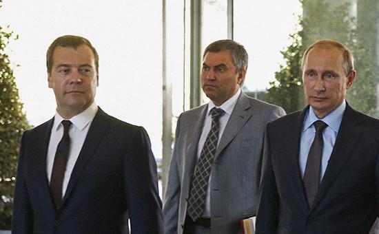 Премьер-министр ДмитрийМедведев,спикер Госдумы Вячеслав Володин и президент России Владимир Путин, август 2014 года
