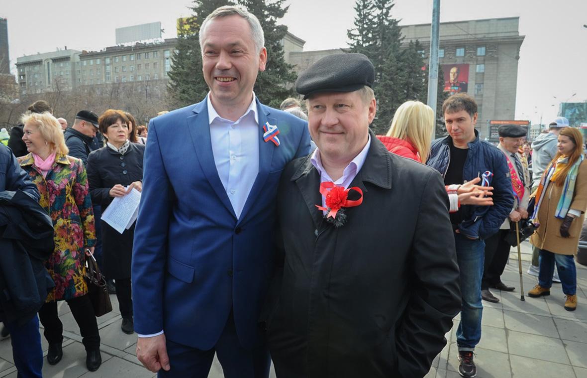 Андрей Травников (слева) и Анатолий Локоть. 1 мая 2018 года