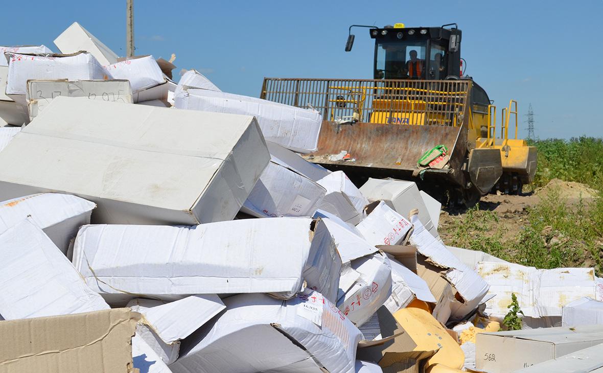 Уничтожение санкционных продуктов питания на полигоне Белгородской области