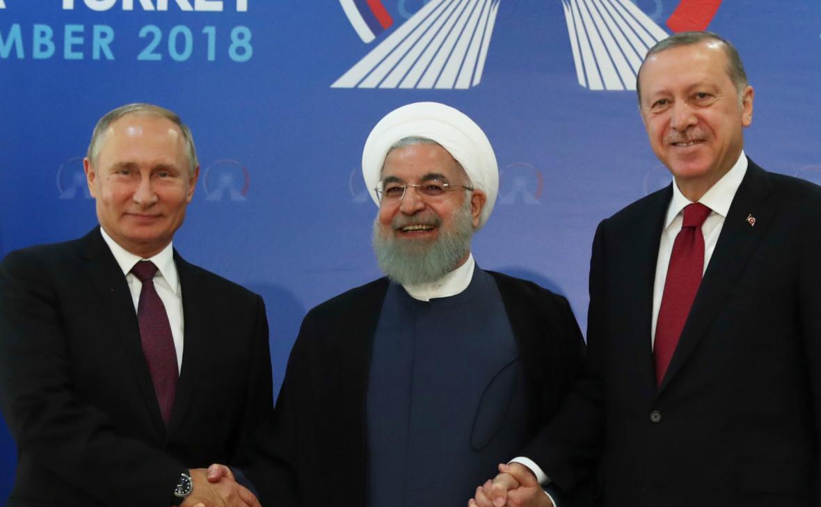 Владимир Путин, Хасан Роухани и Реджеп Тайип Эрдоган (слева направо) на саммите в Тегеране