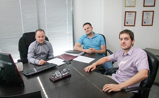 Антон Коновалов, Алексей Козлов иИван Пластун (слева направо)