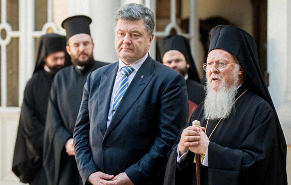 Петр Порошенко(третий слева) ипатриарх Варфоломей (справа)