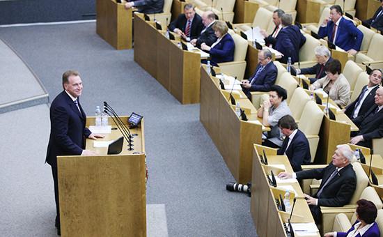 Первый вице-премьер РФ Игорь Шувалов на пленарном заседании Государственной думы РФ