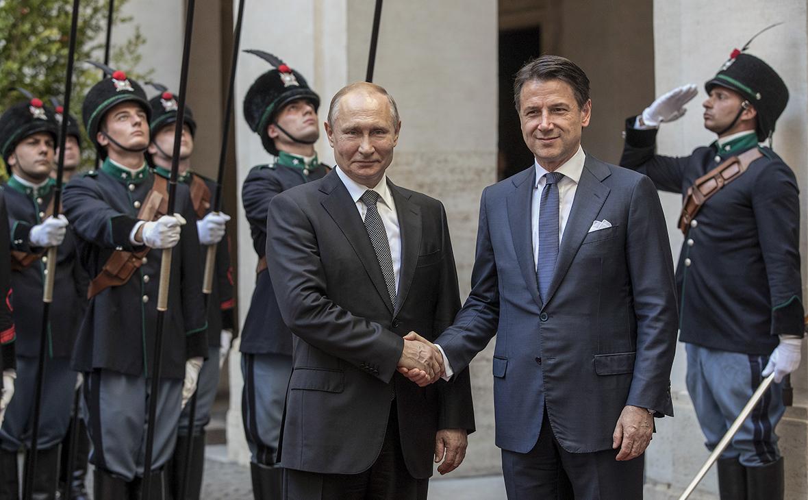 Владимир Путин и Джузеппе Конте (слева направо)