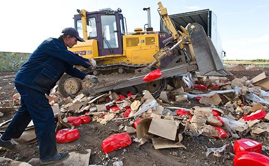 Уничтожение импортного сыра наполигоне у села Подгородняя Покровка
