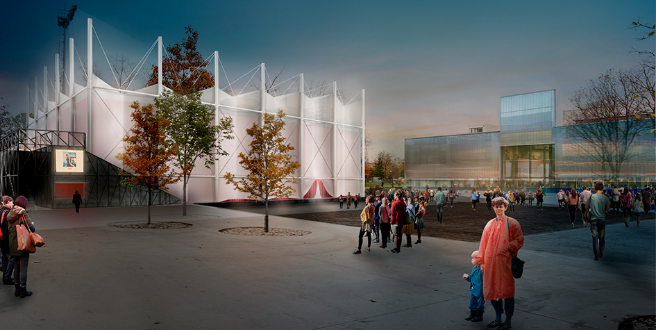 Архитектурная концепция летнего кинотеатра Garage Screen от студии SNKH