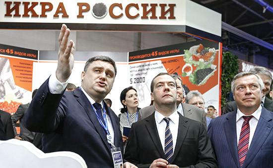 Премьер-министр России Дмитрий Медведев (в центре) на I Всероссийском форуме продовольственной безопасности