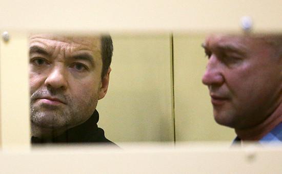 Оглашение приговора членам ореховской преступной группировки вМособлсуде 23 октября 2014года. Дмитрий Белкин (слева)