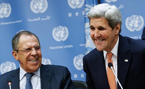 Министр иностранных дел России Сергей Лавров и госсекретарь США Джон Керри (слева направо) на пресс-конференции после заседания Совета Безопасности ООН