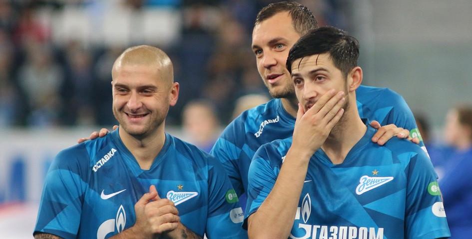 Футболисты «Зенита» Ярослав Ракицкий, Артем Дзюба и Сердар Азмун