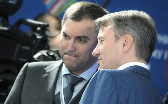 Глава Сбербанка Герман Греф ипервый заместитель руководителя администрации президента РФ Вячеслав Володин