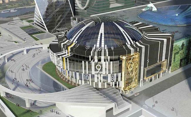 Концертный зал сгигантскими часами в«Москва-Сити»