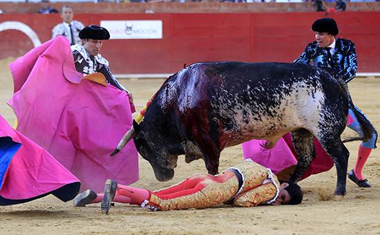 Поверженный быком испанский тореадор Виктор Баррио,9 июля 2016 года.Теруэль,провинция Арагон, Испания