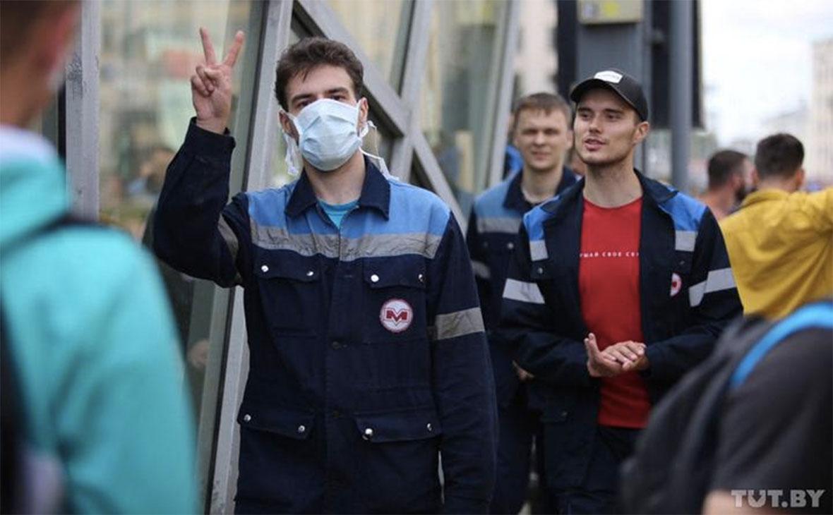 Сотрудники Минского метрополитена на акции протеста