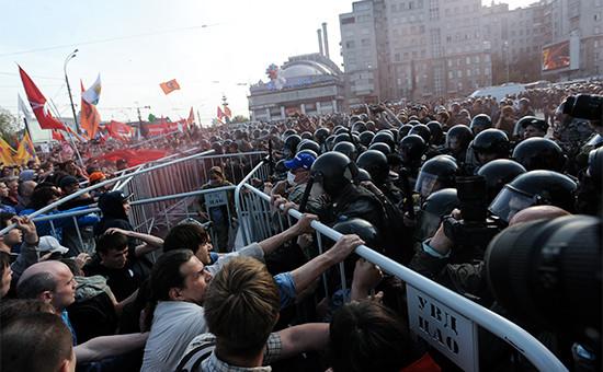 Во время акции «Марш миллионов» наБолотной площади 6 мая 2012 года