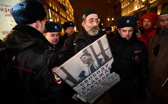 Петербургская акция в поддержку Надежды Савченко, 9 марта 2016 года