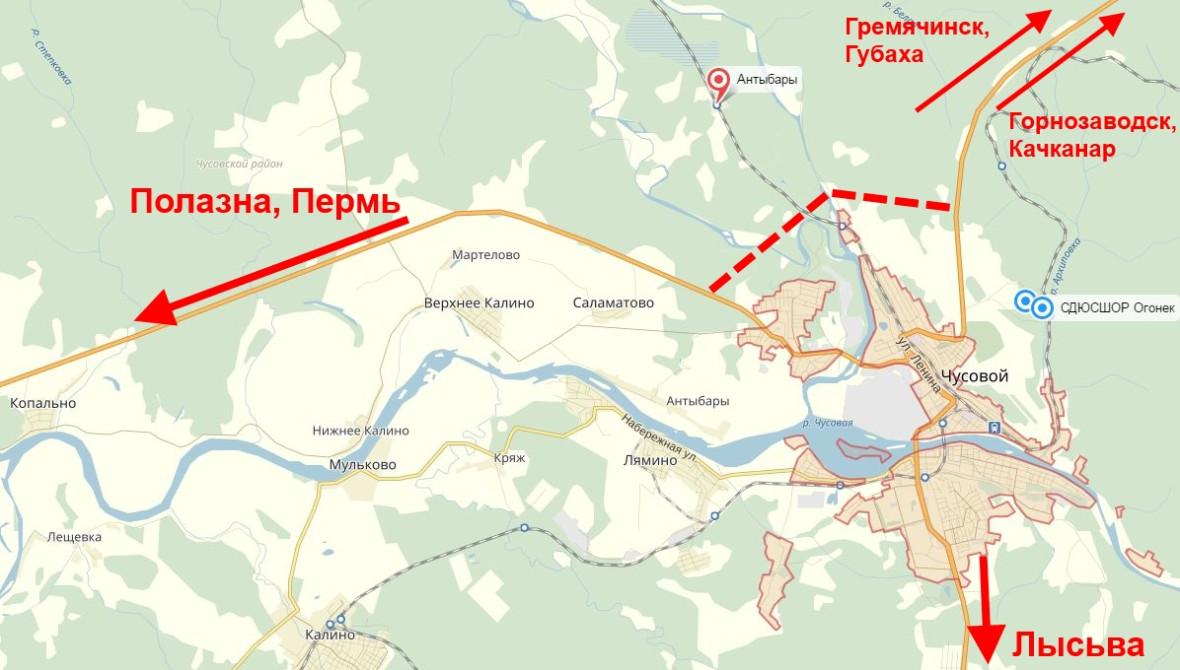 Схема строительства дороги обход города Чусовой