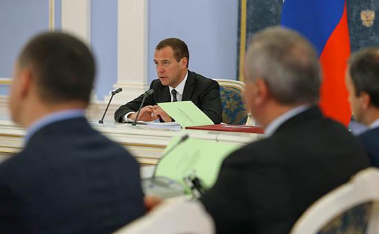 Председатель правительства РФ Дмитрий Медведев проводит вподмосковной резиденции «Горки» заседание правительственной комиссии побюджетным проектировкам