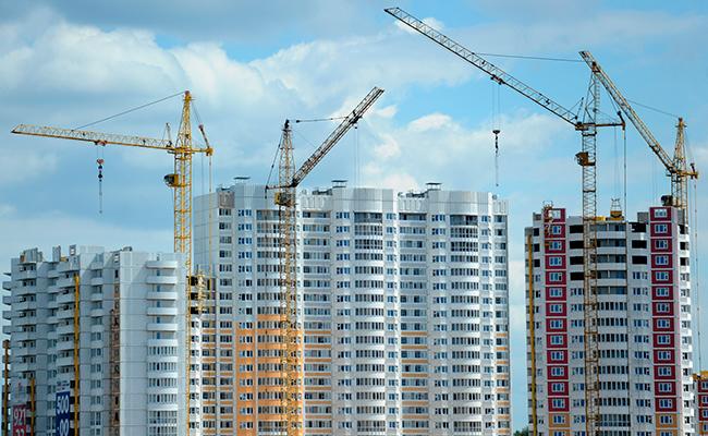Вид настроительство жилого микрорайона вЛенинском районе Московской области