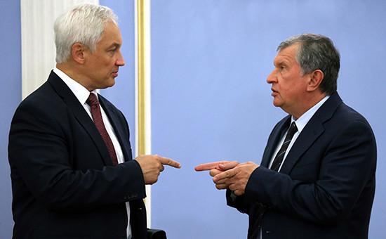 Помощник президента РФ Андрей Белоусов иисполнительный директор «Роснефти» Игорь Сечин