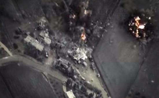 Воздушный ударроссийских самолетов по цели в Сирии