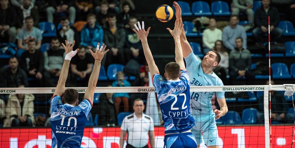 Матч чемпионата России по волейболу среди мужчин между командами «Зенит-Казань» и «Газпром-Югра»