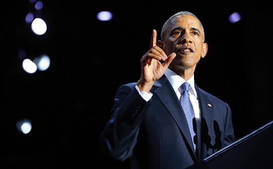 Президент США Барак Обама вовремя выступления спрощальной речью. 10 января 2017 года