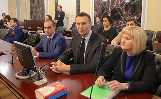 Алексей Навальный (в центре напервом плане)назаседании вВерховном суде России, гденаосновании решения Европейского суда поправам человека рассматривается вопрос опересмотре его дела