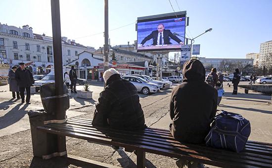 Трансляция пресс-конференции президента России Владимира Путина в Севастополе