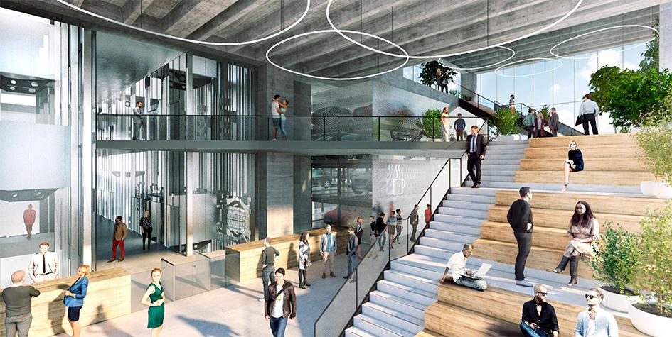 Проектноеизображение лифтового холлав небоскребе