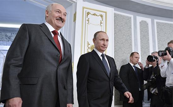 Президент Белоруссии Александр Лукашенко и президент России Владимир Путин (слева направо)