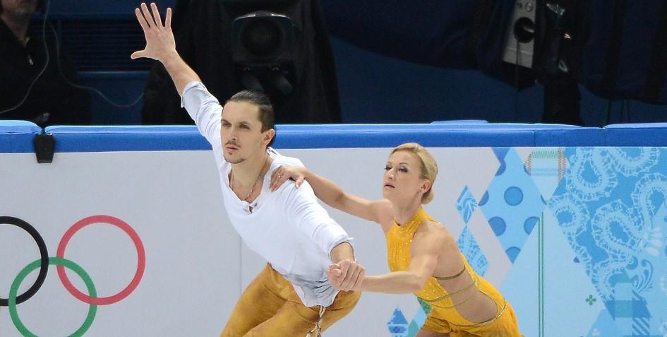 Максим Траньков со своей партнершей по выступлениям в парном катании Татьяной Волосожар