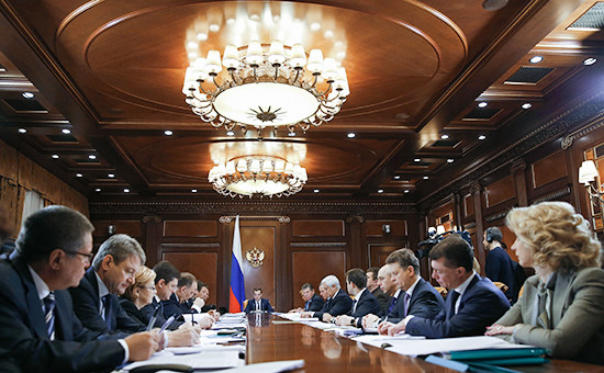 Председатель правительства России Дмитрий Медведев проводит вподмосковной резиденции «Горки» совещание посоциально-экономическим вопросам. 2 февраля 2016 года