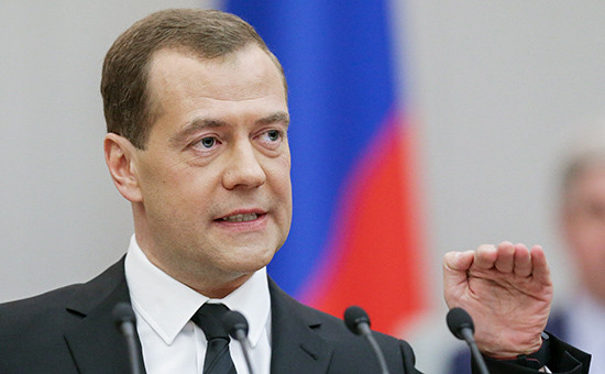 Премьер-министр РФ Дмитрий Медведев напленарном заседании Госдумы РФ вовремя выступления сотчетом орезультатах деятельности правительства РФ за2015год. 19 апреля 2016 года