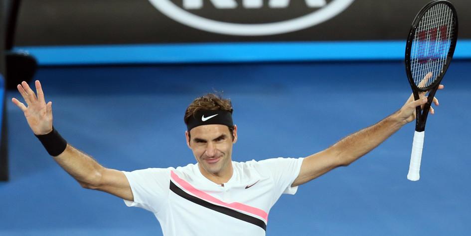 Роджер Федерер в 43-й раз вышел в полуфинал турнира «Большого шлема»